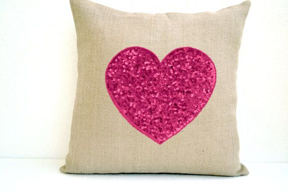 Off-White Burlap heart pillow cover with candy pink by AmoreBeaute