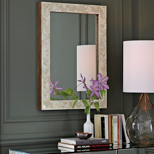 "Parsons Small Wall Mirror - Bone Inlay | west elm  34"" high   $249"