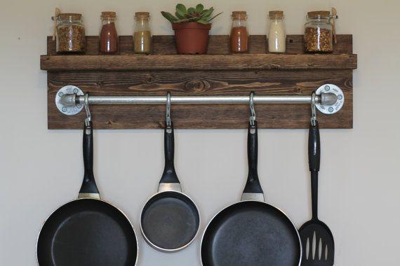 Support de Pot de cuisine industriel rustique, cadeaux pour lui, étagère murale, étagère en bois, étagère industrielle, porte rustique, porte en bois, décoration rustique