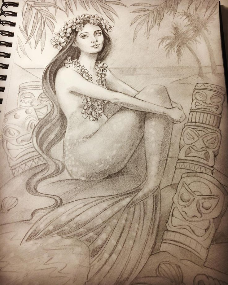 "Eeva Nikunen (@eevanikunen) on Instagram: ""Today a lovely mermaid let me draw a quick sketch of her on a tiki island 🏝 #mermay #mermay2017…"""