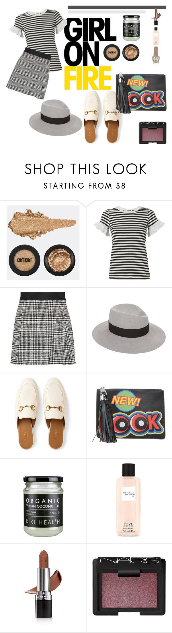 """Endlessly"" by chelsofly ❤ liked on Polyvore featuring Sonia by Sonia Rykiel, Alice + Olivia, Maison Michel, Gucci, Moschino, Victoria's Secret, Avon and NARS Cosmetics"