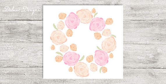 Watercolor floral wreath graphic in pink and peach | Instant Download, $2.25