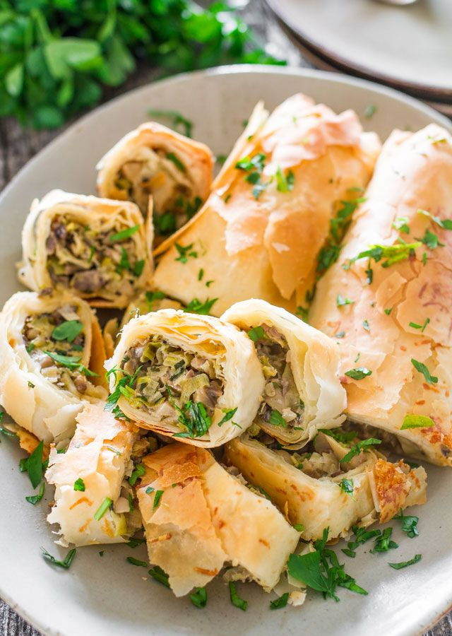 Mushroom and Leek Strudel - a perfect holiday appetizer, a delicious strudel loaded with mushrooms and leeks, plus some other yummy ingredients.