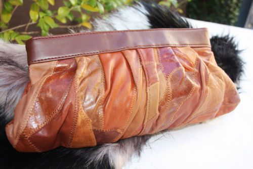 Women-039-s-PATCHWORK-LEATHER-Clutch-Handbag-Tan-Soft-Leather-PVC-Trim