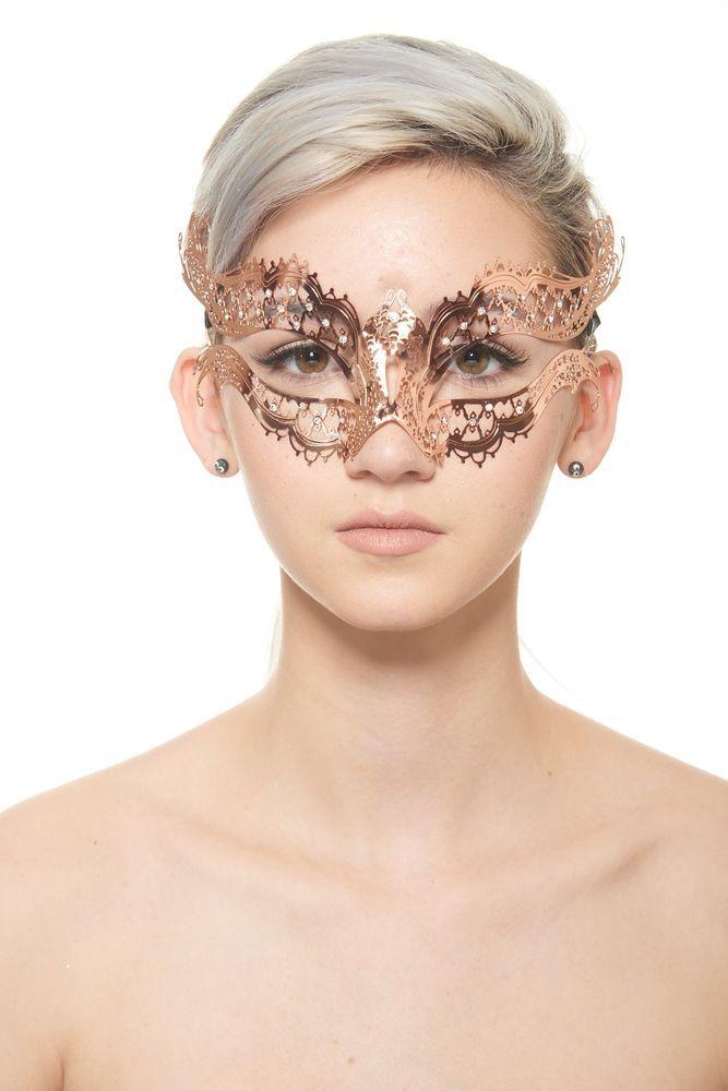 Rose Gold Metal Venetian Masquerade Mask with Clear Rhinestones #Masquerade