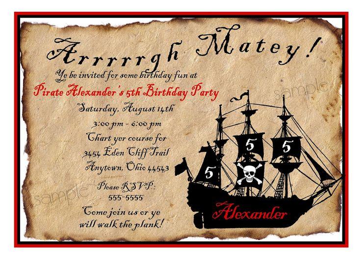 Pirate Ship Birthday Party Invitations, Pirate Birthday party, Pirate Ship, Custom, Kids, Children. $1.69, via Etsy.