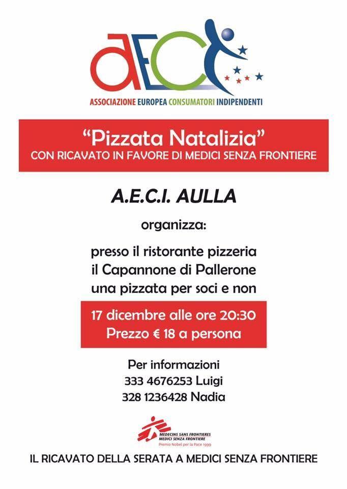 #Aeci Aulla invita tutti alla #Pizzata natalizia in programma per #sabato sera.  Al ristorante-pizzeria Il Capannone di #Pallerone una cena che ha lo scopo di raccogliere fondi per #MediciSenzaFrontiere, fra buon cibo e auguri. Il prezzo comprende quota da devolvere, oltre a pizza, bevanda, dolce e caffè.   Per info e prenotazioni: Luigi 3334676253 Tania 3203808315 Nadia 3281236428