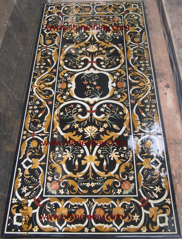 """Grand Pietra Dura Marble Inlay Dining Table Top """"Art of Royal Court"""" Furniture"""