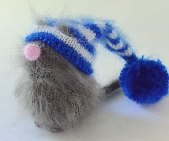 Mr. Persy Grey Cat in Striped Blue and White Hat - Hand-knitted Toy Handmade Amigurumi Kitten Miniature Dolls cats Christmas toy wool kitten