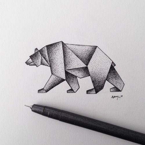 steelbison:  Geometric stipple bear. #illustration