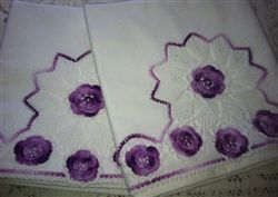 Hand Crocheted Purple & Lilac Roses trimmed Vintage Pillowcase Pair Unused