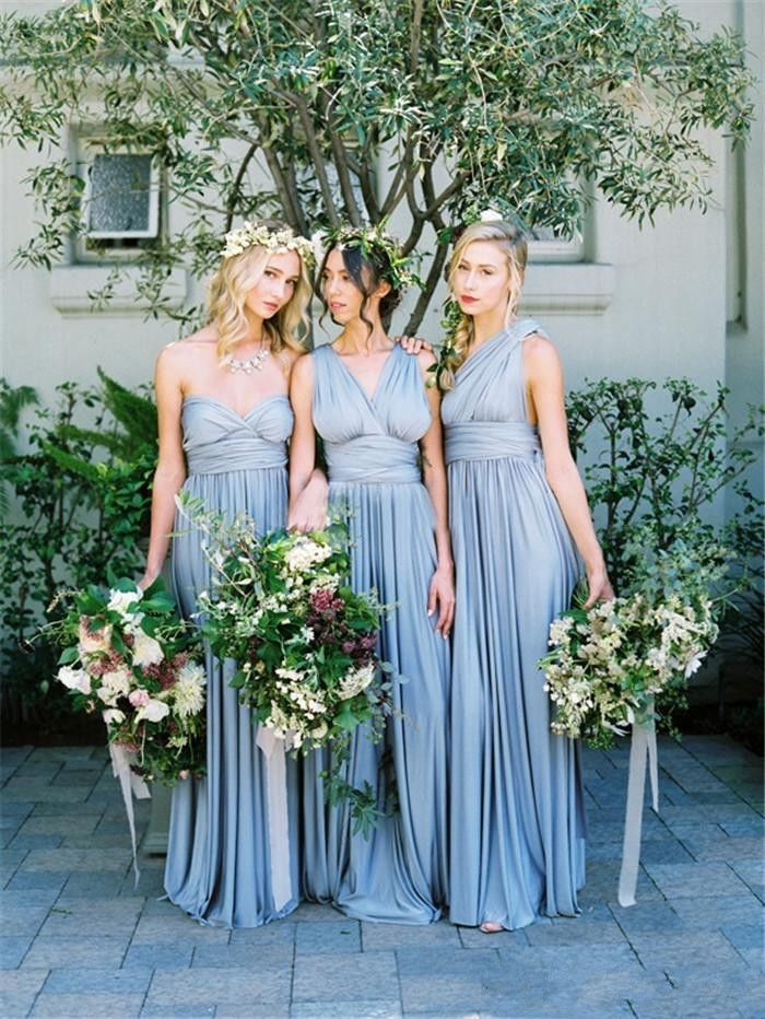 2016 New Dusty Blue Bridesmaid Dresses For Wedding Formal Evening Party Gowns