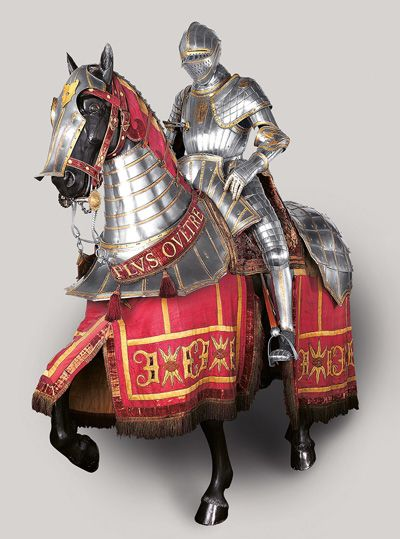 German, documented 1513–1579, Equestrian Armor of Emperor Charles V, Augsburg, c. 1535–1540 (lance, 16th-19th century) etched, embossed, and gilt steel, brass, leather, fabric (lance: steel and wood), Patrimonio Nacional, Real Armería, Madrid-Magnificent!