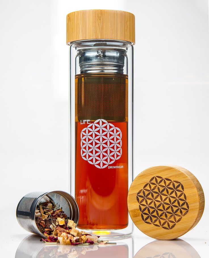 Tea Infuser and Fruit Infused Water Bottle with Quality Stainless Steel Loose Leaf Tea Strainer and Bamboo Lid by LIFE Drinkware - 15.8 oz. Replace Your Travel Mug with Our Tea Tumbler Today!