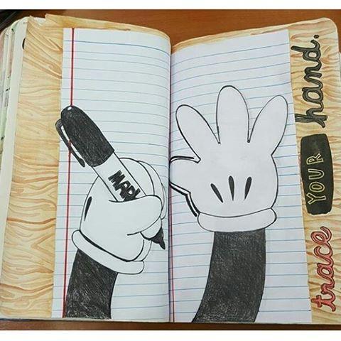"219 Synes godt om, 11 kommentarer – wreck this journal (@wreckthisjournalwithlove) på Instagram: ""Trace your hand Do you know who's hands they are? #wreckthisjournal #wtj #journal #art #tumblr…"""