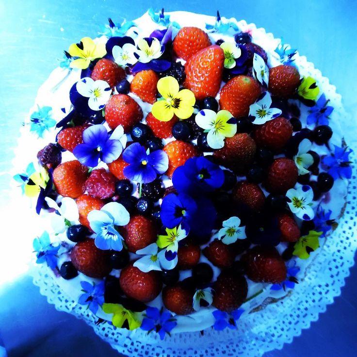 Lista la naked cake de dos pisos preparada con mucho cariño y dedicación para el matrimonio de Karina. Mañana se va a Casablanca y el sábado a Algarrobo 😍👰💘🌸🍰 Decorada sólo con naturaleza, berries, pensamientos y borrajas azules. Todo comestible, lindo, fresco y delicioso. #nakedcake #tortadenovios #weddingcake #bride #tortadesnuda #berries #pensamientos #borrajasazules #catering #curaumacatering #banquetería #curauma #casablancavalley