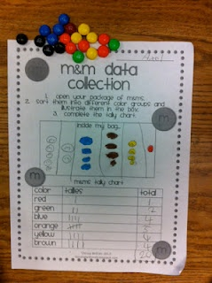 M fractions. Kids count how many of each color and write the number in a chart. Then have them write the fraction of the total each color represents.