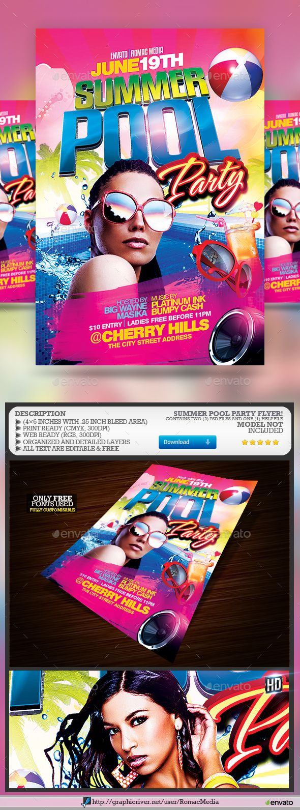#Summer Pool #Party - Clubs & Parties Events Download here: https://graphicriver.net/item/summer-pool-party/19736814?ref=alena994