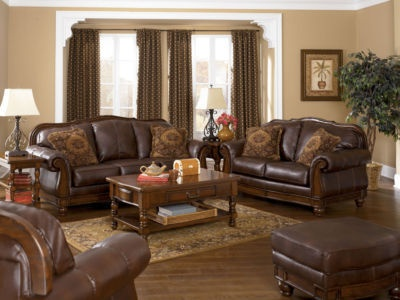 Cordoba Old World Wood Trim Brown Bonded Leather Sofa Couch Set Living Room