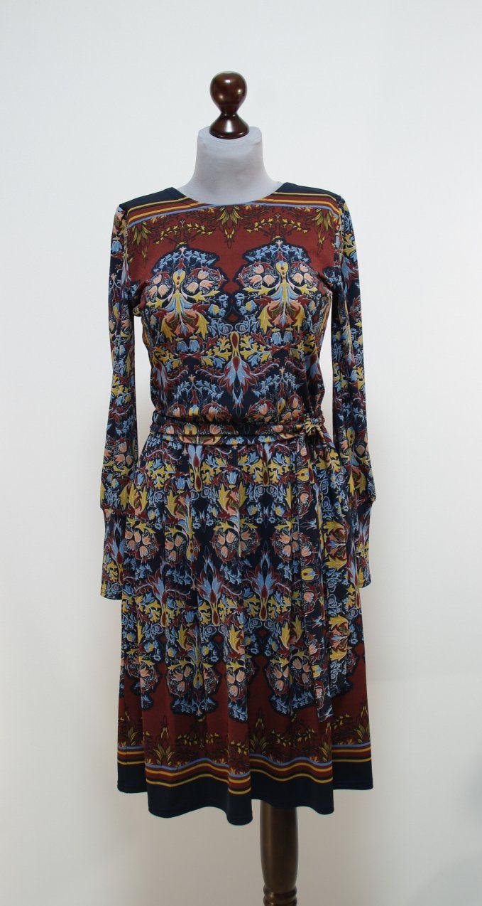 Бордово-коричневое платье с восточными узорами, пышная юбка | Платье-терапия от Юлии