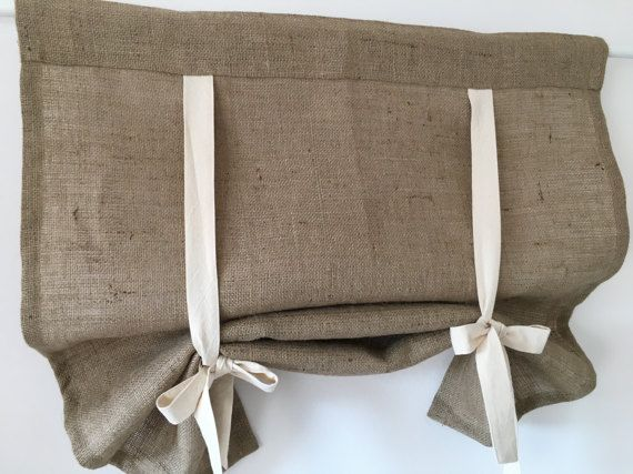 """Burlap or Linen Curtains Country Kitchen Tie Up Valance Rustic Window Treatment French Country Farmhouse Living Room Farmhouse Curtain 36""""L"""