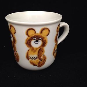 Olympic Games Russia 1980 Moscow Childs Cup Mug Misha Bear Mascot Vintage