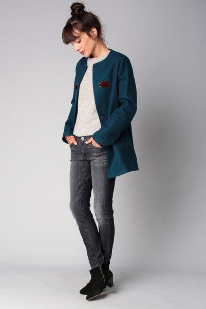 Manteau bleu laine Azumi Sessun sur MonShowroom.com