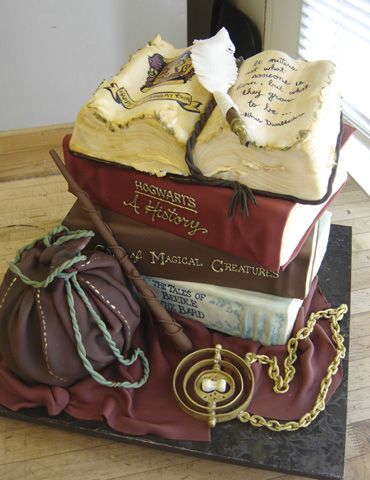 4 tier Hogwarts-inspired Harry Potter Birthday cake. by Michelle Bigold, High Tea Bakery.