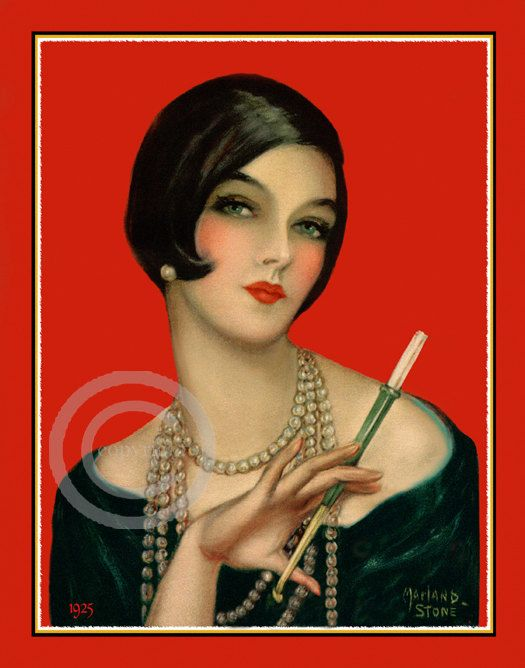 Sultry Art Deco Flapper Girl Vamp Wearing by DragonflyMeadowsArt