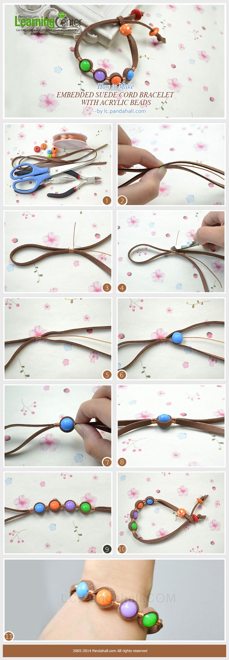 How to Make Embedded Suede Cord Bracelet with Acrylic Beads