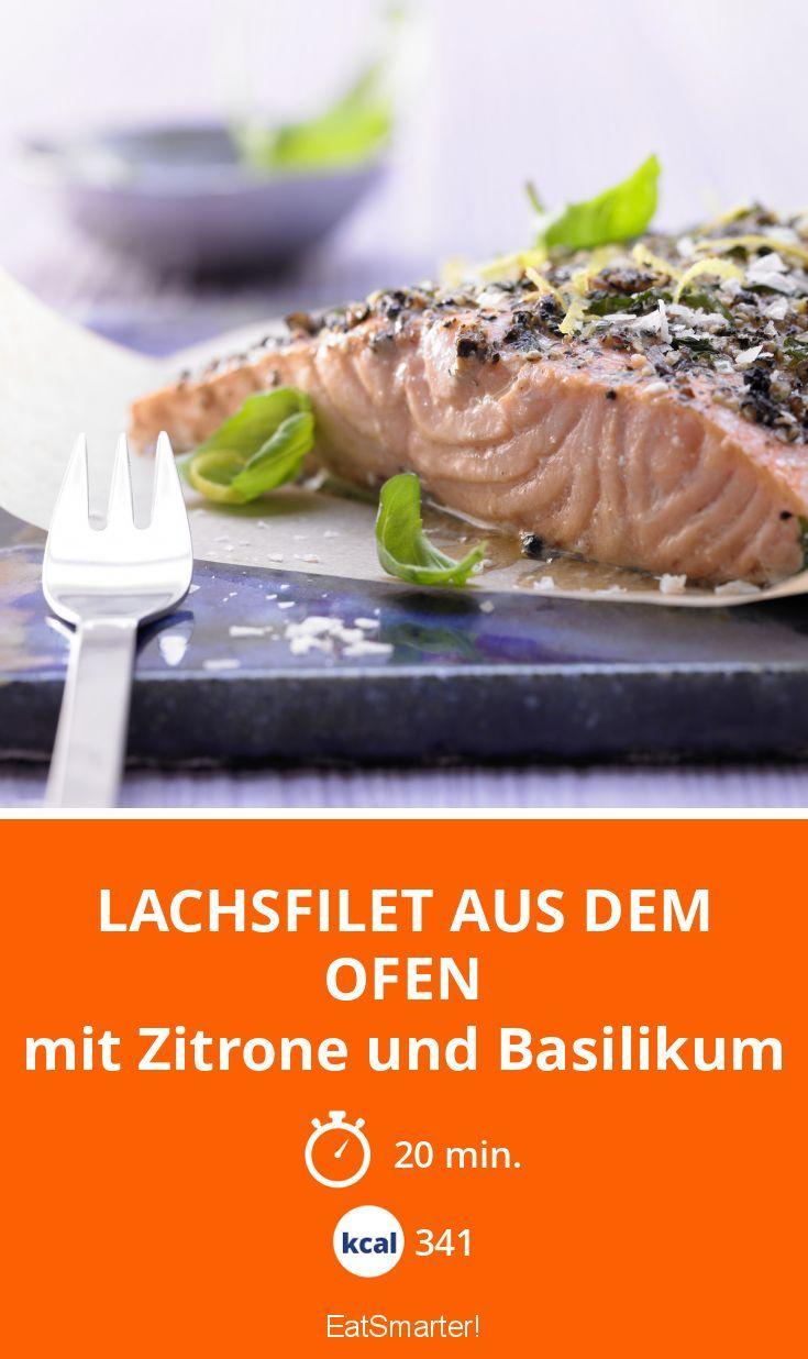 Lachsfilet aus dem Ofen - mit Zitrone und Basilikum - smarter - Kalorien: 341 Kcal - Zeit: 20 Min. | eatsmarter.de
