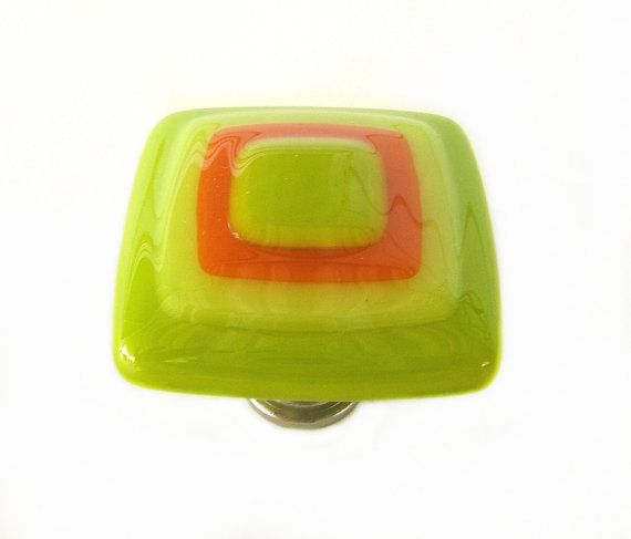 Im freaking out over this. Lime Green Yellow Orange Glass Knob l Glass by UneekGlassFusions, $24.00