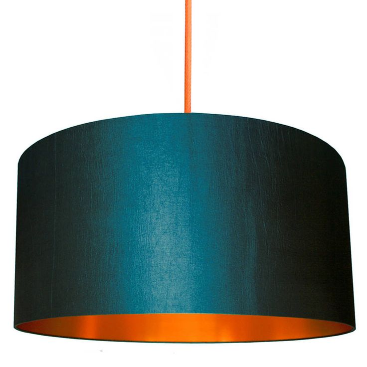 Gold Or Copper Lined Lampshade In Petrol