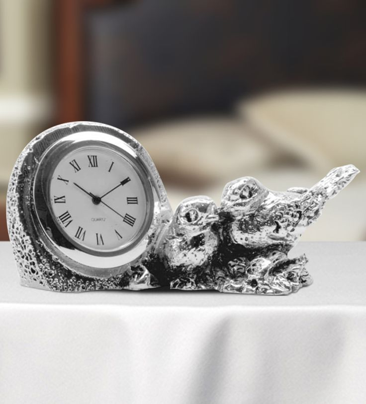 Table Clock with Sparrows - The attractive two-sparrows silver clock is designed in a fashionable way.