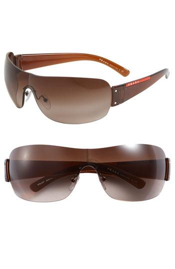 Prada Wraparound Rimless Shield Sunglasses | Nordstrom