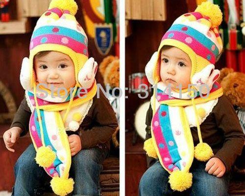 Бесплатная доставка ---- ребенка шляпу и шарф костюм девушка и мальчик конфеты кролик детей двойной вязаный шерстяной цоколь шапочки 1 шт.