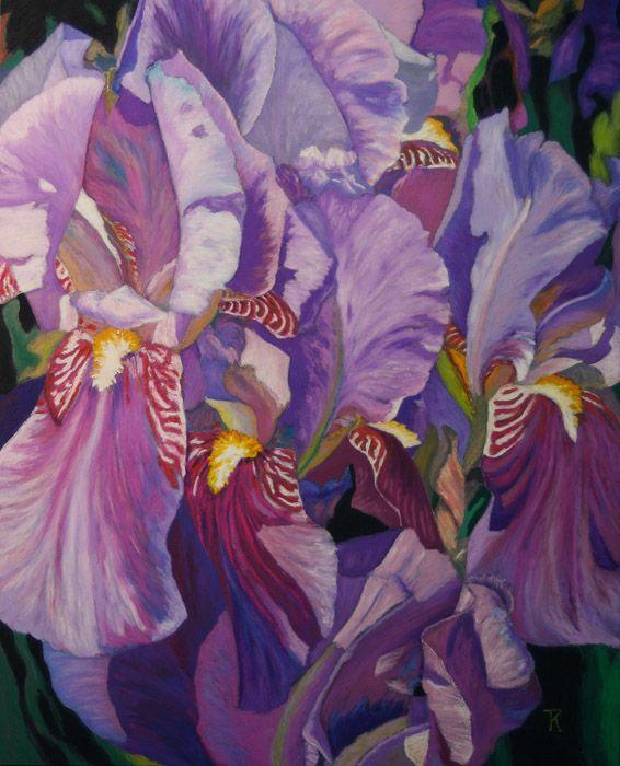 """Iris Garden"", 14 x 11"", Oil Pastel."