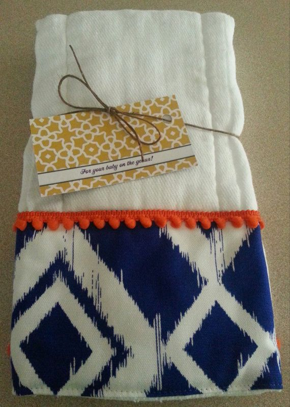 blue ikat Florida gator baby burp cloth