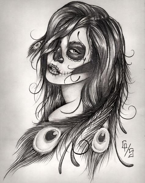 Female Indian Sugar Skull Tattoo