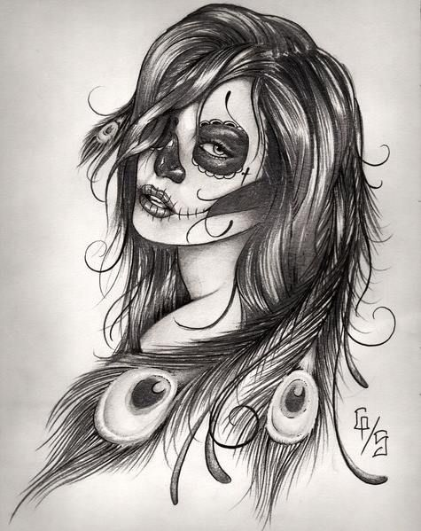 Female Indian Sugar Skull Tattoo