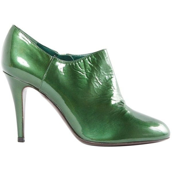 Pre-owned Patent Leather Ankle Boots ($240) ❤ liked on Polyvore featuring shoes, boots, ankle booties, green, women shoes ankle boots, zipper ankle boots, patent ankle boots, low boots, zipper booties and patent leather bootie