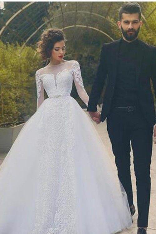 A-line Sheer Court Train Organza Bridal Gown Applique