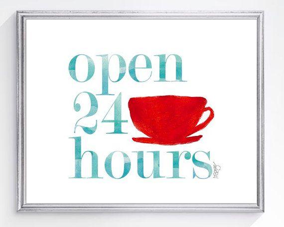 Retro Kitchen Art Print 8x10 Coffee Cup Diner Art Vintage Kitchen Decor