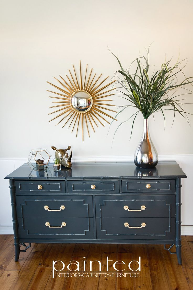 Thomasville Allegro Faux Bamboo Dresser   I used 6 cans of Rust-Oleum Protective Enamel in Gloss Smoke Gray.