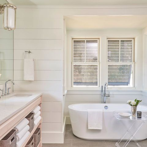 The white master bathroom in a Lowcountry house.