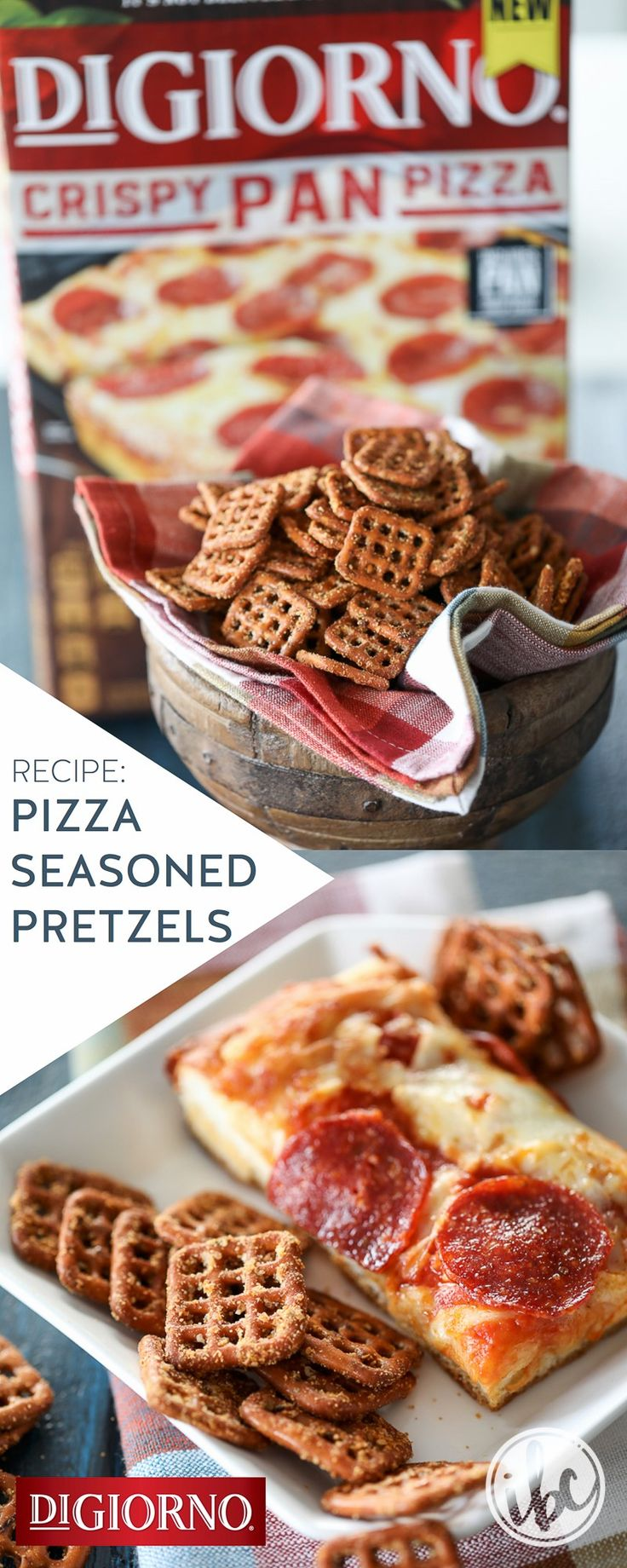Check out this seasoned pretzel recipe from our partner, Michael Wurm Jr. | Inspired by Charm, inspired by fresh-baked DiGiorno Crispy Pan Pizza – and the perfect complement to any party menu. Ingredients: Pretzels, butter, tomato paste, garlic powder, tomato basil garlic seasoning blend, parmesan cheese. 1. Preheat oven to 275˚F 2. Whisk butter, tomato paste & seasonings. 3. Drizzle pretzels with butter mix. 4. Top with cheese. 5. Bake for 25 minutes. 6. Remove from oven; cool before…