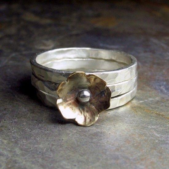 Rings |  Cheryl Van Dyck.  Petite Bloom Stacking Rings.