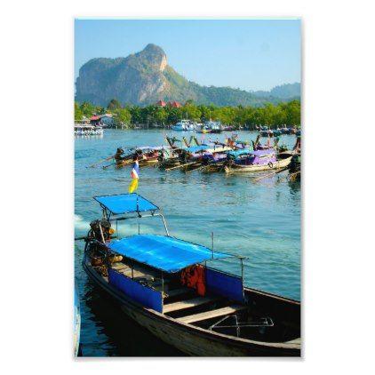Long Tail Boat Marina Photo Print - blue gifts style giftidea diy cyo