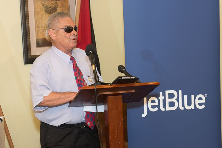 Robin yearwood Minister of Public Utilities, Aviation and Transportation in JetBlue Press Confress in Antigua