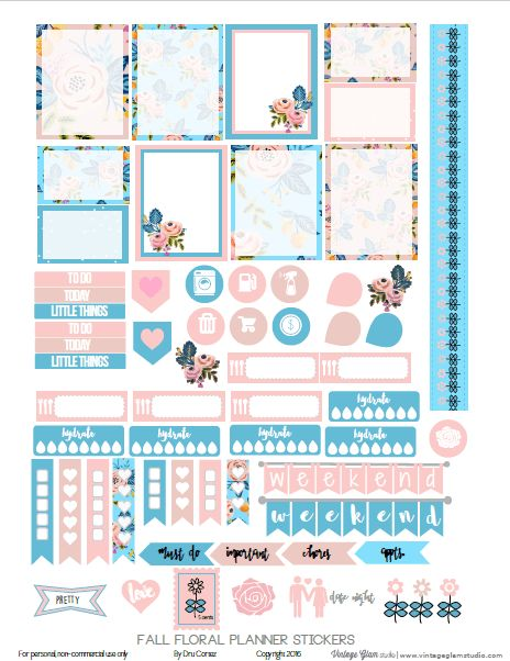 Free Fall Floral Planner Stickers Printable | Vintage Glam Studio